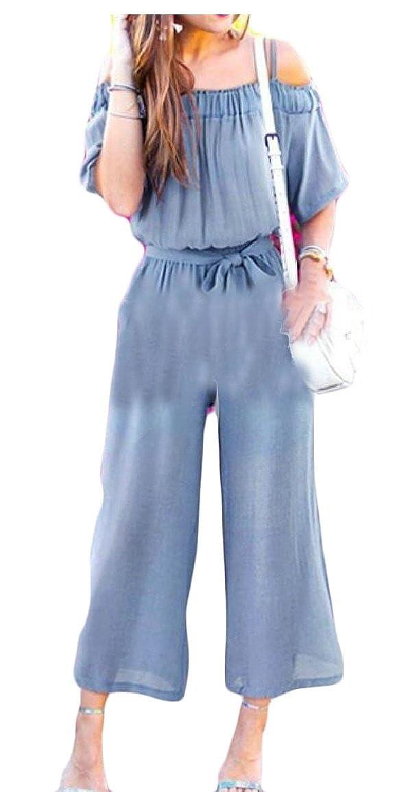 YONGM Women Off Shoulder Elastic Waist Chiffon Playsuits Jumpsuits Romper