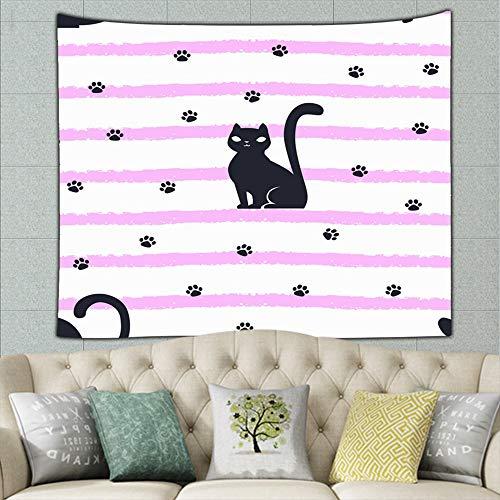 jtykftuf Hand Drawn cat Stripes paw Footprints Animals Wildlife Hippie Tapestry Wall Art for Living Room Bedroom Dorm Decor 50ʺ × 60ʺ]()