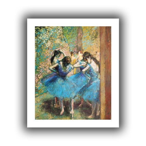 ArtWall Edgar Degas 'Dancers in Blue' Unwrapped Canvas, Flat 18x22, image: 14x18