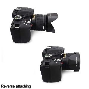 Camera Lens Hood JJC for Nikon AF-P DX NIKKOR 18-55mm f/3.5-5.6G VR Lens & Nikon 1 NIKKOR VR 10-100mm f/4-5.6 Lens Replaces Nikon HB-N106 lens hood no Vignetting Reverse Attaching-1 pack