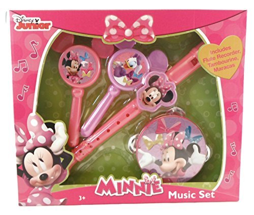 Disney Minnie Mouse Music Instrument Set (Flute Recorder, Maracas, Tambourine) by Midwood Brands LLC - Exclusive Maraca