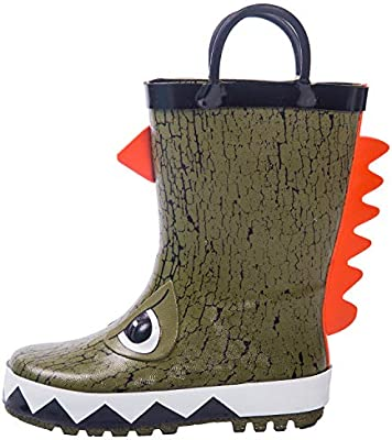MingAll Boys /& Girls Rain Boots Waterproof Rubber Garden Shoes Easy-On Handles in Fun Patterns Kids Toddlers