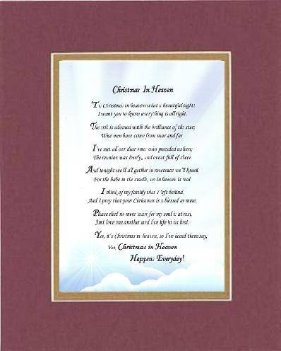 poem for bereavement christmas in heaven poem on 11 x 14 inches double beveled matting