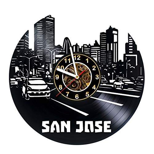 OLESIAstudios SAN Jose City - Wall Clock Made of Vinyl Record - Handmade Original Design - Great Gifts idea for Birthday, Wedding, Anniversary, Women, Men, Friends, Girlfriend Boyfriend and Teens]()