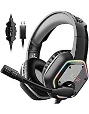 EKSA USB Gaming Headset - 7.1 Surround Stereo Sound - PS4 Headphones with Noise Canceling Mic & RGB Light - Over Ear Gaming Headphones For PC, PS4/PS5 Console, Laptop