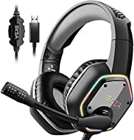 EKSA Gaming Headset with 7.1 Surround Sound Stereo, PS4 USB Headphones with Noise Canceling Mic & RGB Light, Compatible...
