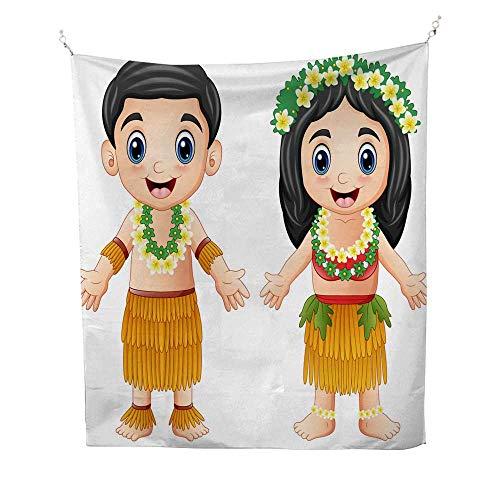 25 Home Decor Tye dye Tapestries Cartoon Hawaiian Couple Wearing Traditional Costumes Greatful Dead Tapestries 70W x 84L -