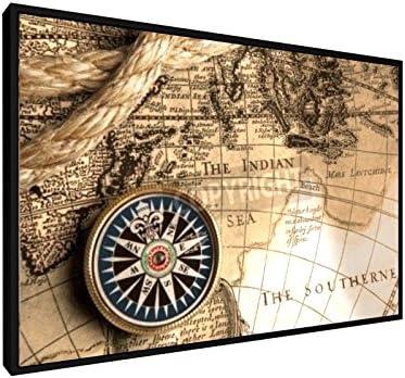 weewado Burmakin Andrey - Viejos compás y Cuerda 60x40 cm Impresiones sobre Lienzo Enmarcado - Muro de Arte - Map of The World: Amazon.es: Hogar
