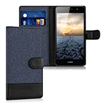 kwmobile Wallet case canvas cover for Huawei Y6 - Flip case with card slot and stand in dark blue black