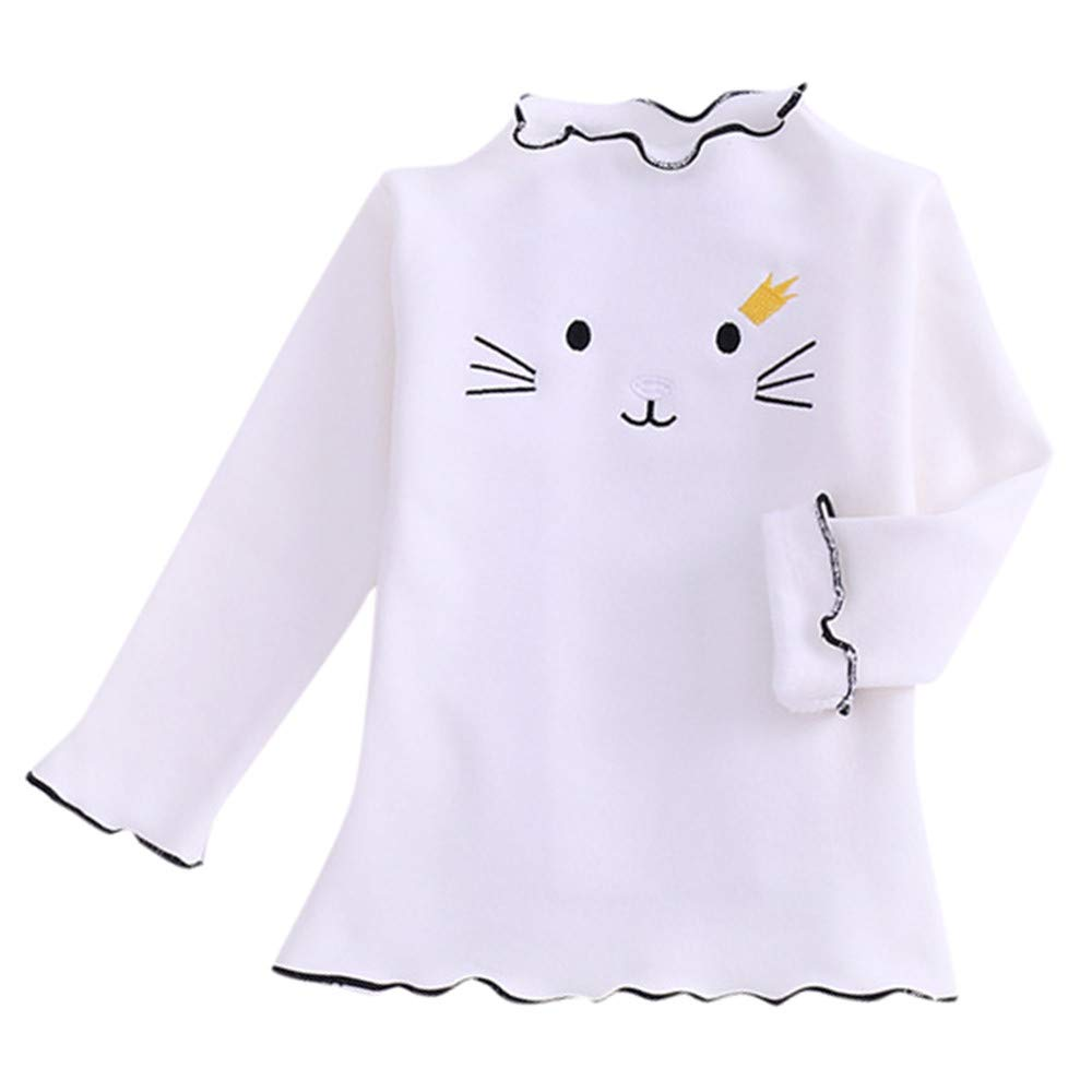 Zerototens Girls Sweatshirt,1-5 Years Old Toddler Kids Baby Girls Long Sleeve Cartoon Cat Embroidery Pullover Tops Children Jumper for Spring Autumn Casual Outfit Clothes