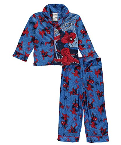 "Spider-Man Little Boys' ""Webbed Action"" 2-Piece Pajamas - royal blue multi, 6"