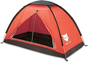 Night Cat Backpacking Tent for One 1 Person Lightweight Waterproof Camping Hiking Tent for Adults Kids Scouts Easy Setup Single Layer 2.2x1.2m