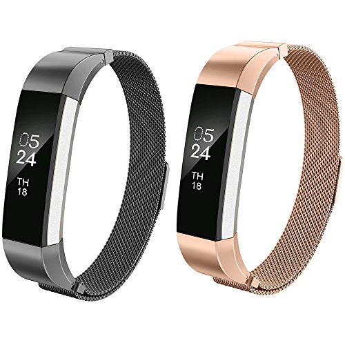 Fitbit Alta Bands For Women Men Kids Girls,AIUNIT Milanese Loop Fitibt Alta Watch Band Small/Large For Fitbit Alta HR and Fitbit Alta - 2pack Black+Rose Gold (No Tracker)