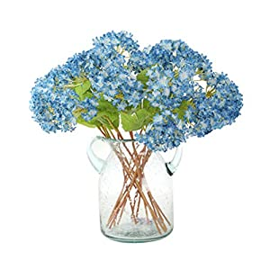 12 pcs/lot Lovely Mini Hydrangea Artificial Fake plastic Mini Fresh Silk Flower Arrangement Home Home Decorative Flowers Bouquet Dining-table Hotel party Wedding DIY Craft fake flores marriage decoration (blue) 4
