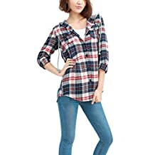 Allegra K Women Button Down Plaids Hooded Shirt