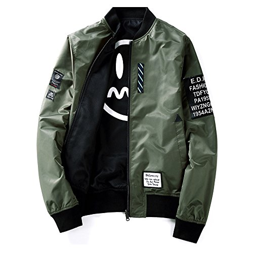 Mens Pilot Jacket Two Sides Wear Letter Printed Thin Bomber Windbreaker Jacket Army Green ()