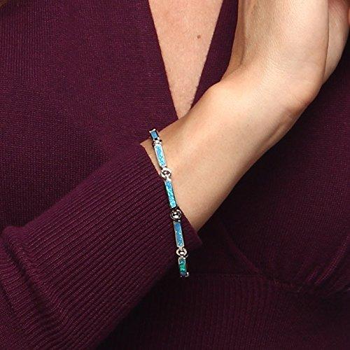 Argent sterling 17,8cm Créé Opale bleue Barre Bracelet à maillons