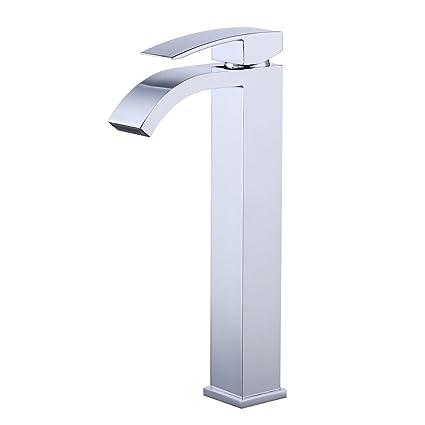 KES Lead-Free Brass Bathroom Sink Faucet Single Handle Waterfall Spout for Vessel  Bowl Sink