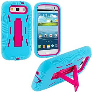 Accessory Planet(TM) Baby Blue / Hot Pink Heavy Duty Hybrid Hard/Soft Silicone Case Cover with Stand Accessory for Samsung Galaxy S III S3
