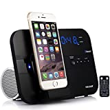 VELOUR Apple Lightning Speaker Dock for iPhone 6S,6,6plus, 5,5s,Mini with Bluetooth FM Radio clock and Charger [Apple MFi Certified]