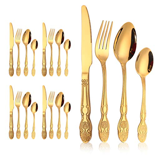 20-Piece Gold Flatware Silverware Set-Stainless Steel Cutlery Service for 5, Include Knife/Fork/Spoon,Utensils-Mirror Polished,Dishwasher Safe