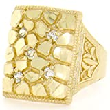 10k Solid Yellow Gold Nugget Diamond Cut Mens CZ Ring