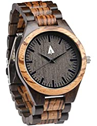 Treehut Zebrawood and Ebony Wooden Mens Watch – Tri-Fold Clasp – Stainless Steel Buckle