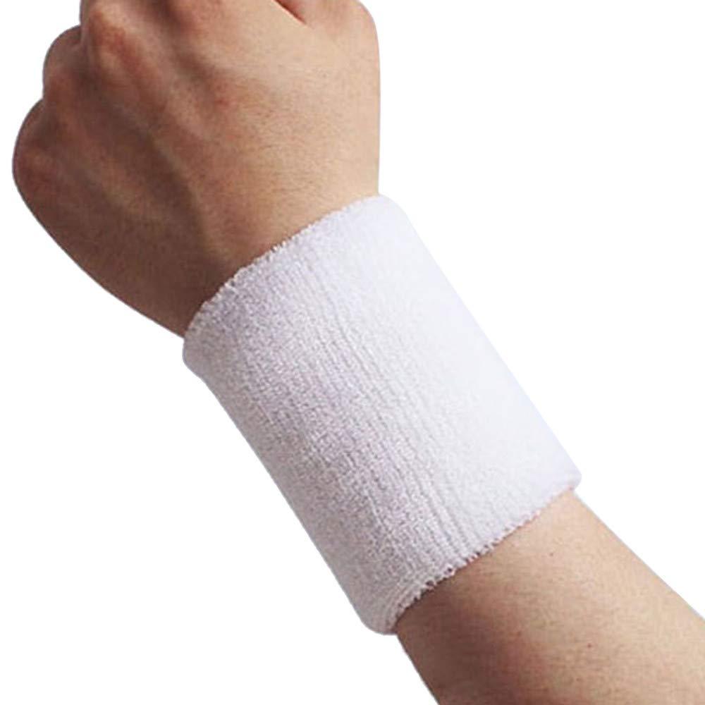 2Pcs Sports Basketball Unisex Cotton Sweat Band Sweatband Wristband Wrist Band