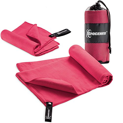 SPOGEARS Microfiber Towel Quick Dry Towel Set of 2 Includes Large Camping Towel 58x30'' + Small Gym Towel - 23x15 Compact/Lightweight Antibacterial, Super Absorbent Travel, Swim, Sports, Towels