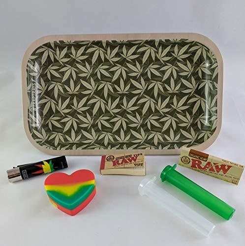 Simple Leaf Metal Smoking Rolling Tray TrapTrays Large Bundle Kit Papers Tubes Filters Lighter