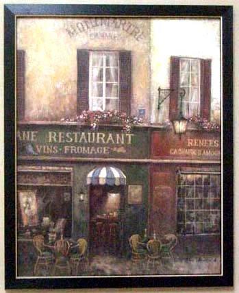 Framed Village Charm Bistro Paris Cafe French (Bistro Framed)