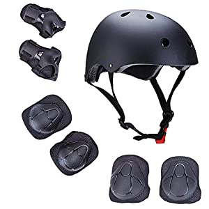 Kids Outdoor Sport Protective Gear Set with Helmet Knee Elbow Wrist Pads Adjustable Safety for Cycling Skateboarding Skating Rollerblading Hoverboard BMX and Other Extreme Sports Activities (black)