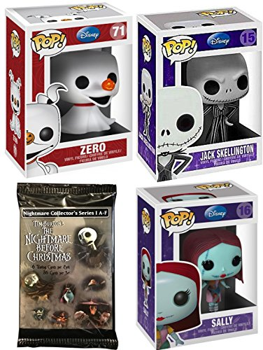 The Nightmare Before Christmas Figure Collection Funko Series Pop! / Skellington Pumpkin King / Zero Ghost Dog / Sally / Disney Trading Cards Pack collectible Vinyl Characters from AYB Products
