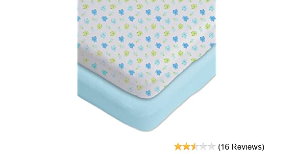 92cce5dc53c Amazon.com   Gerber 2 Pack Cotton Knit Fitted Bassinet Sheets Blue White  Frog and Turtle Design   Bassinet Flat Sheets   Baby