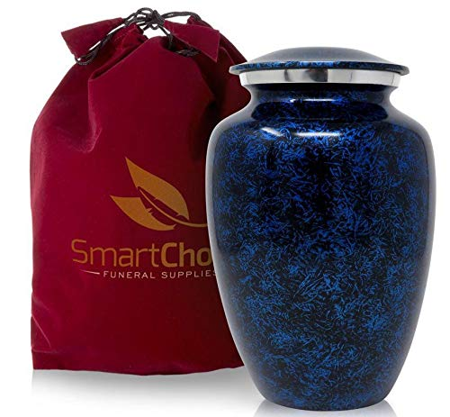 SmartChoice Cremation Urn for Human Ashes - Handcrafted Funeral Memorial Urn in Elegant Forest Blue (Adult)