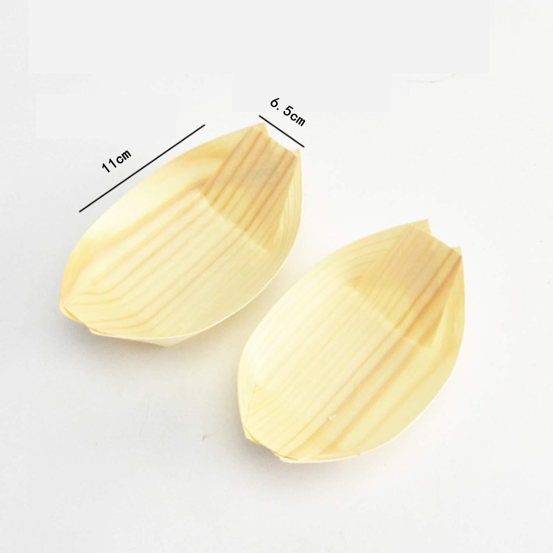 Wohlstand 50 x Coupelles en Bois en Forme de Bateau,Vaisselle jetable pour Finger Food,Wood Boats,Assiettes jetables,/écologique et biod/égradable 11,5 x 7.5cm