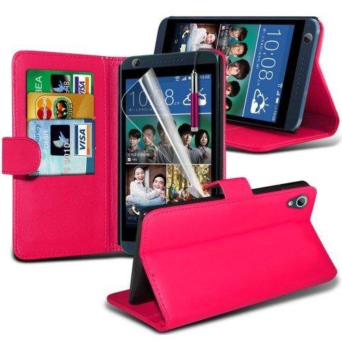 HTC Desire 626 Cubierta del caso con cuero (Rosa caliente) Plus de regalo libre, Protector de pantalla y un lápiz óptico, Solicitar ahora mejor caja del teléfono Valorado en Amazon! By FinestPhoneCase