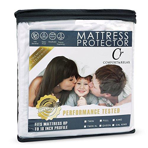 Comfort & Relax Mattress Protector - 100% Waterproof - Hypoallergenic - Up to 18 Inches - Queen