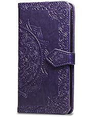Oihxse Funda con Huawei Honor 9X/9X Pro, Cuero PU Billetera Cierre Magnético Flip Libro Folio Tapa Carcasa Relieve Soporte Plegable Ranuras para Tarjetas Protección Caso(Purpura)