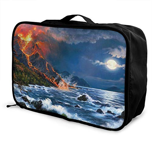 Skrencai Packing Cubes Volcano Travel Luggage Bag Receive Storage Organizer Large Portable Set with Handle