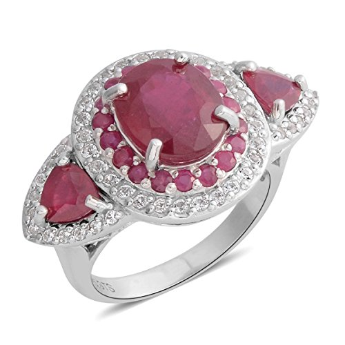 (925 Sterling Silver Oval Ruby, Multi Gemstone Cocktail Fashion Ring For Women Size 10 Cttw 8.9)