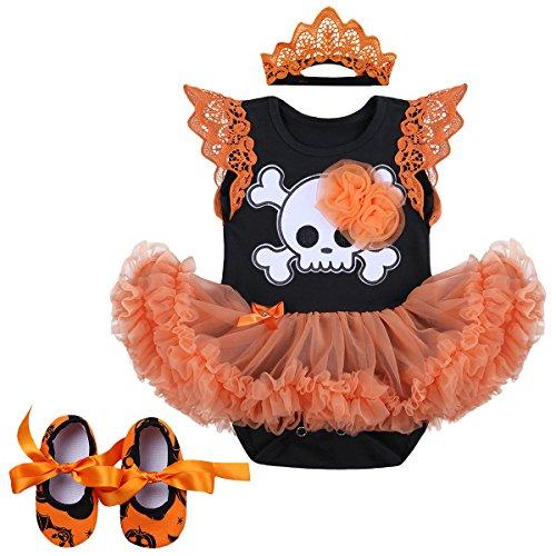 Baby Girls My 1st Halloween Costume Outfits Newborn Infant Romper Tutu Dress 2PCs/3PCs Headband Shoes Set 3PCs Orange Skull 3-6 Months