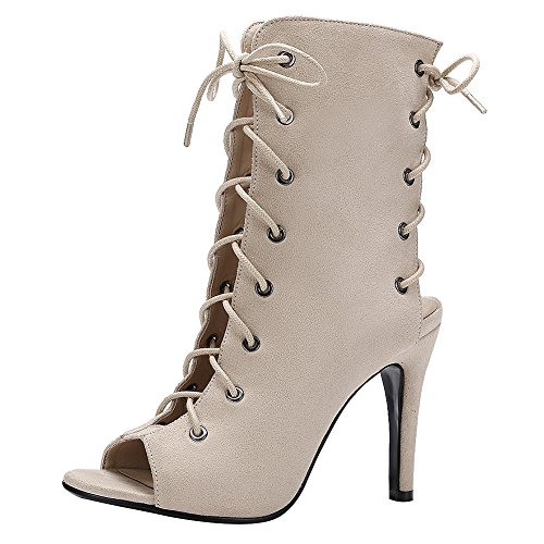 Heel Out Style Gladiator Peep Cut Western Sandals Up Toe Calf Jamron Lace Roman Pumps Women Beige Booties Stiletto wqEUqWIz
