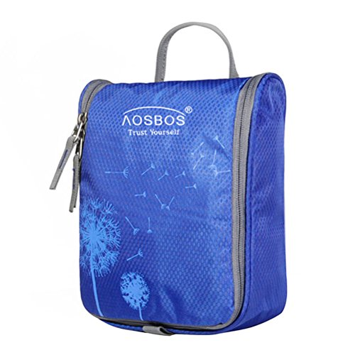 Aosbos Hanging Toiletry Bag Portable Travel Cosmetic Makeup Organizer Bag for Women Men Blue