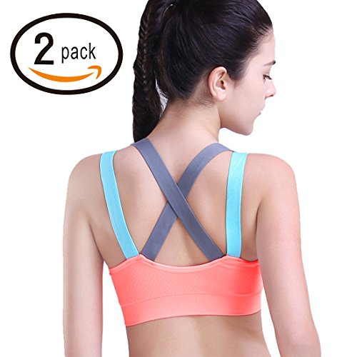 Heartfor Racerback Sports Bras For Women   Padded High Impact Workout  Pack Of 2