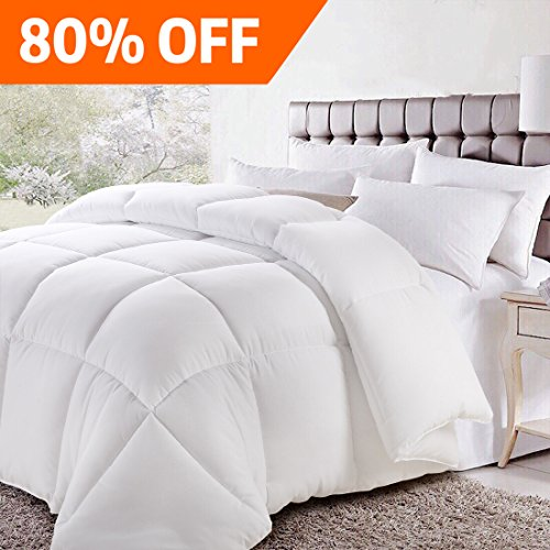 Queen/Full Soft Goose Down Alternative Quilted Comforter Luxury Hotel Collection Reversible Duvet Insert with Corner Tab,Warm Fluffy Hypoallergenic for All Season,White,88 by 88 (Night 60 Tabs)