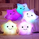 Plush Colorful LED Light Star Shape Throw Pillow Home Sofa Party Decor Toys Gift (Blue)
