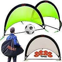 Pop Up Soccer Goals Set - 2 Portable Soccer Nets for...