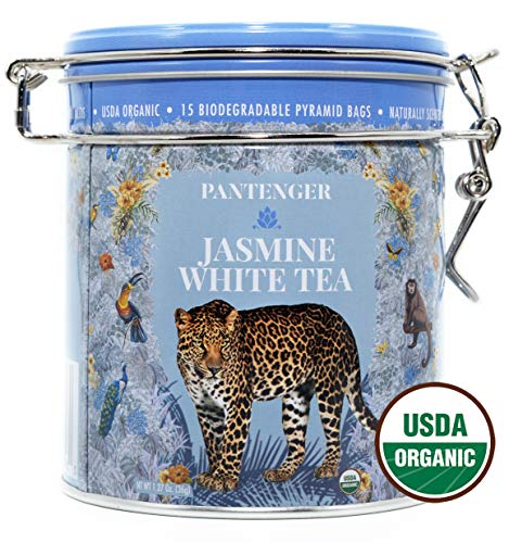 Dragon Pearl Jasmine Tea. White Jasmine Tea Bags -15 XL Pyramid Sachets, Up To 35 Infusions- USDA Organic Jasmine Tea. Jasmine Dragon Pearls. White Tea Jasmine Scented Rolled Into - Pearl White Green