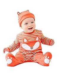 KONFA Toddler Newborn Kids Baby Boys Girls Fall Winter Clothes,Cartoon Fox Striped Rompers Cotton Jumpsuit+Hat Set